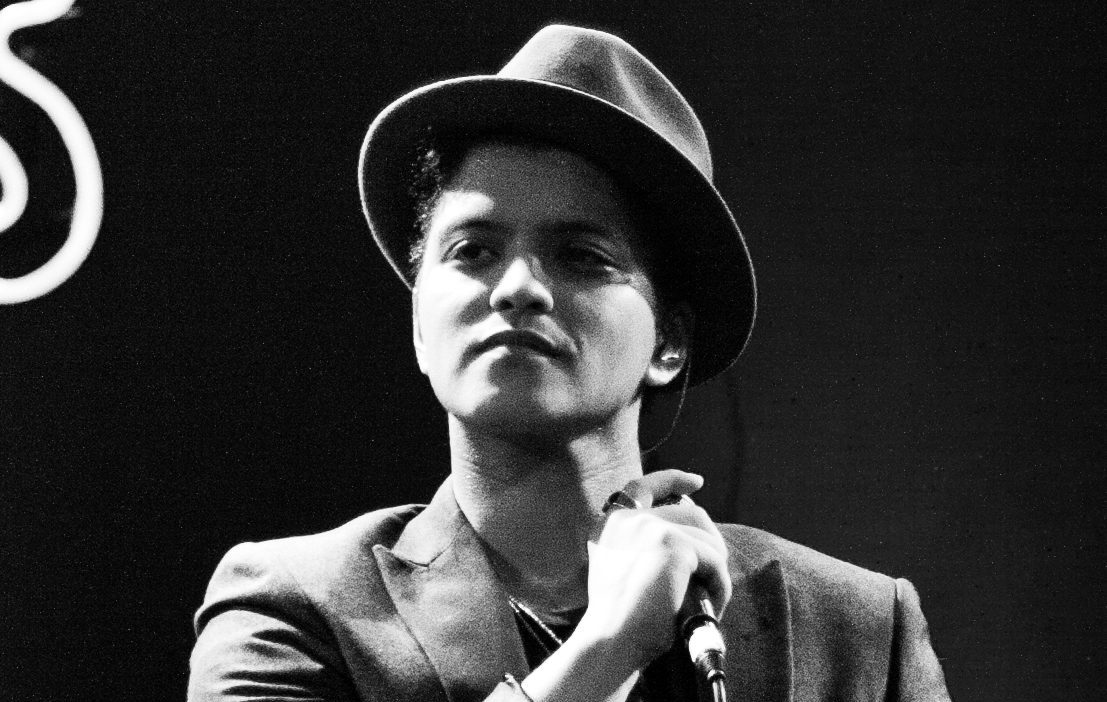 Bruno Mars in black and white