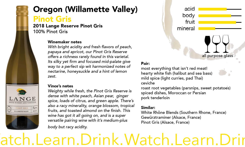 Oregon Lange Estate Pinot Gris