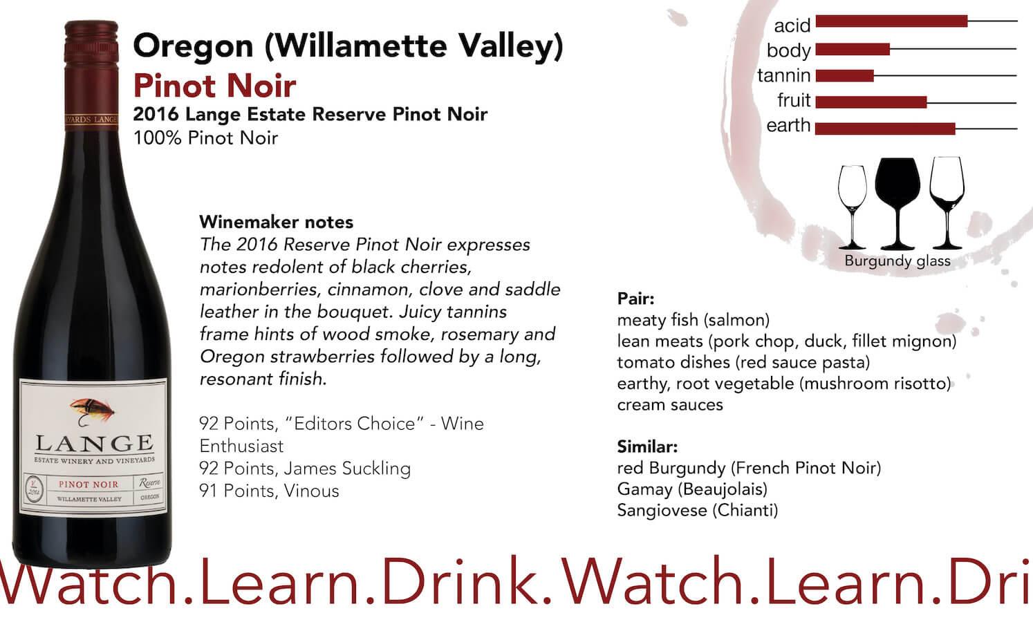 Oregon Lange Estate Pinot Noir Reserve